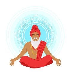 Meditating yogi man in yoga lotus pose colorful vector