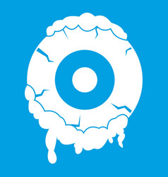 Scary eyeball icon white vector
