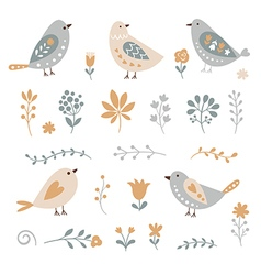 set of graphic floral elements and birds vector image vector image