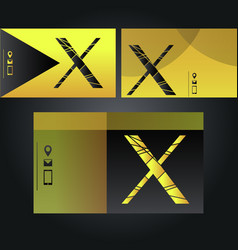 set of neon yellow and black business cards with vector image