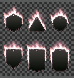 Set of six frames surrounded with pink flame vector