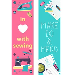 Sewing flat design two banners vector image