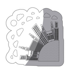 Silhouette round city with builds and clouds vector
