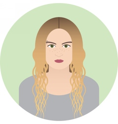 Teenage girl with freckles and piercing portrait vector