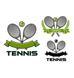 Tennis game emblems with rackets and balls vector image vector image