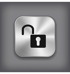 Unlock icon - metal app button vector image vector image