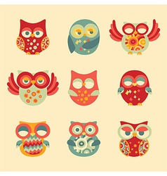 Vintage Decor Owl Set vector image