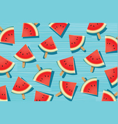 Watermelon slice on blue wooden summer time vector