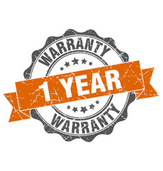 1 year warranty stamp sign seal vector