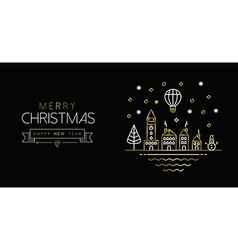 Gold christmas and new year line art city banner vector