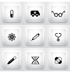 Set of square application buttons medical vector image