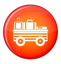 Service cart with luggage icon flat style vector