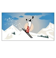 Alpine landscape Skier flying in the sun and vector image