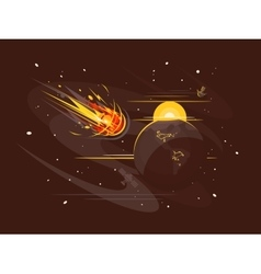 Burning comet in space vector image
