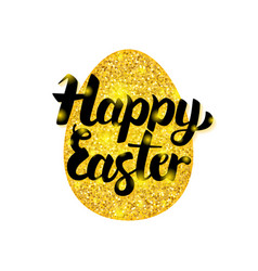 Gold happy easter greeting vector