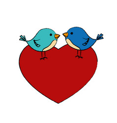 Love heart with cute bird vector