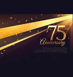 75th anniversary celebration card template vector