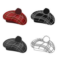 Scottish traditional cap icon in cartoon style vector