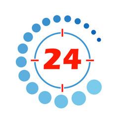 24 hours open round vector image vector image