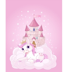Sky castle and unicorn vector