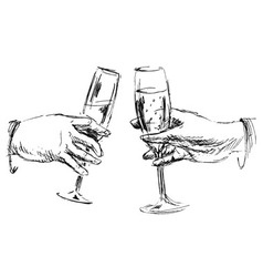 hand sketch hands with glasses vector image