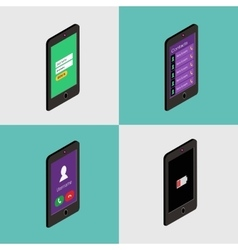 Isometric icon set of mobile phone in flat style vector