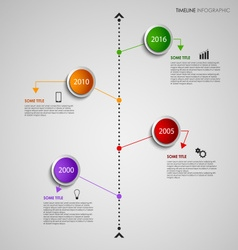 Time line info graphic with colored design round vector