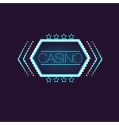 Hexahedron casino neon sign vector