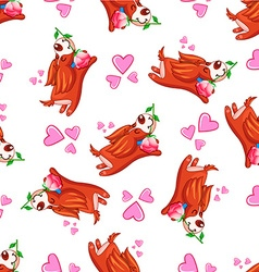 background happy puppy with hearts 2 vector image