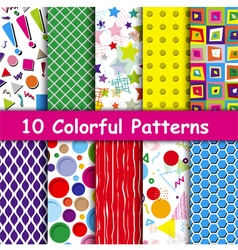 Set of 10 colorful geometric seamless patterns vector
