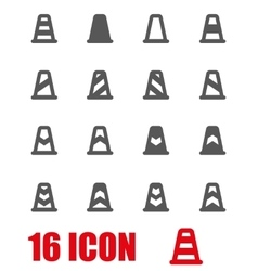 Grey traffic cone icon set vector