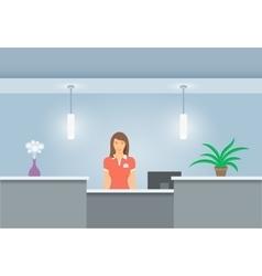 Woman receptionist stands at reception desk front vector