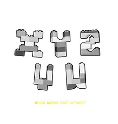 Alphabet created from playing bricks black and vector