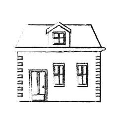 blurred silhouette facade house with two floors vector image