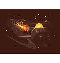 Burning comet in space vector image