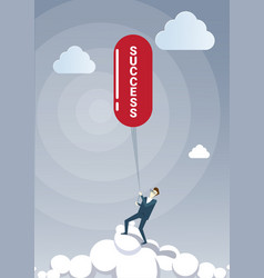 business man hold success on rope successful new vector image