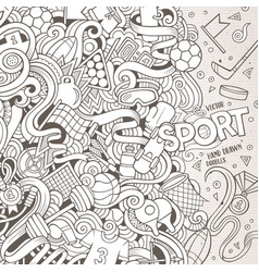 cartoon cute doodles sport frame vector image
