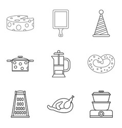 Cheese topping icons set outline style vector
