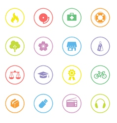 Colorful simple flat icon set 6 with circle frame vector