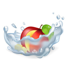 Cut apple in water splash isolated vector