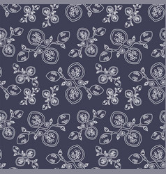 Dark grey seamless pattern with abstract flowers vector