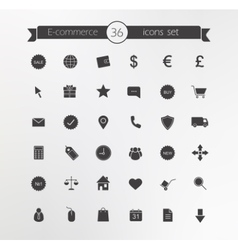 E-commerce Shop silhouette icons set vector image