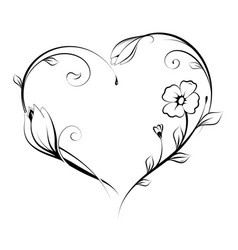 floral heart shape design vector image vector image