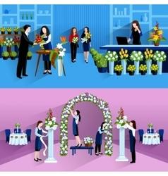 Flowers bouquet arrangement florist service vector image