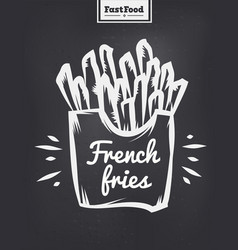 french fries poster with cool design vector image