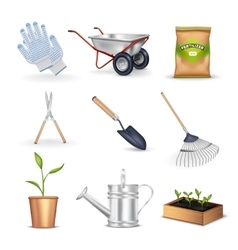 Gardening decorative icons set vector