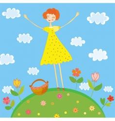 girl on picnic vector image