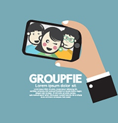 Groupfie a group selfie by phone vector