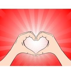 Hand heart retro style pop art vector image vector image