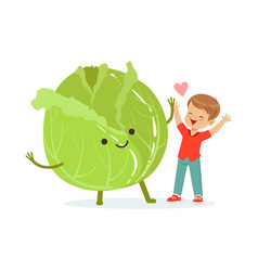Happy boy having fun with fresh smiling cabbage vector